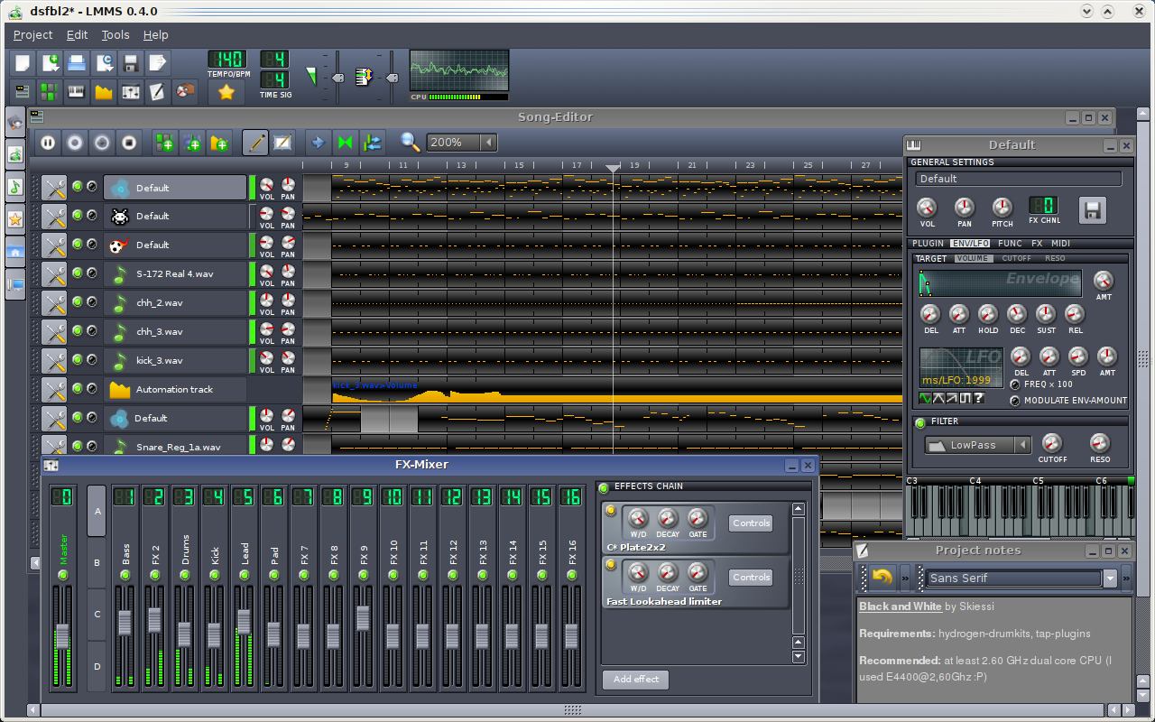 LMMS (Linux MultiMedia Studio) for Linux & Mac OS X full screenshot